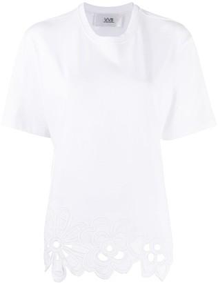 Victoria Victoria Beckham embroidered hem oversized T-shirt