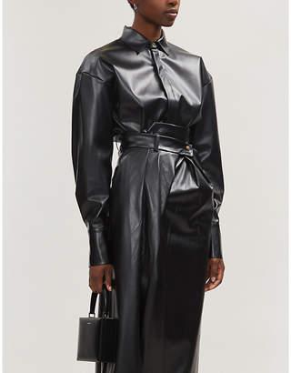 Awake Business Woman puffed-sleeve faux-leather shirt