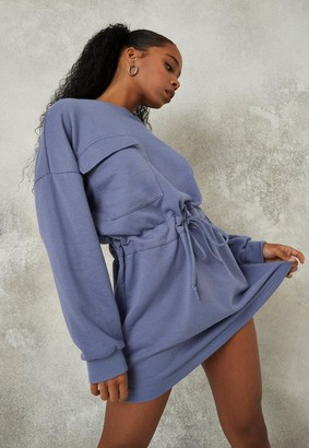 Missguided Blue Utility Pocket Sweater Dress