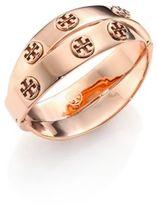 Tory Burch Studded Double-Wrap Logo Bracelet/Rose Goldtone