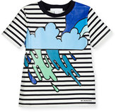 Burberry Striped Storm Cloud Jersey Tee, Navy/White/Black, Size 4-14