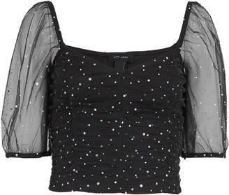 New Look Ruched Mesh Diamante Top