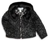 Harrison Morgan Girl's Sequin Embellished Faux Fur Jacket