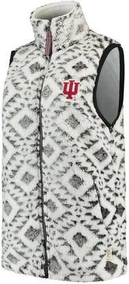 Women's Pressbox White Indiana Hoosiers Tribal Printed Poodle Fleece Vest