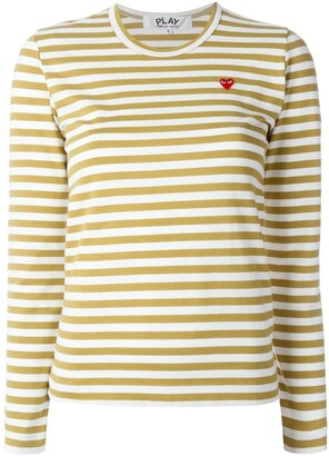 Comme des Garcons Heart-Patch Striped Top