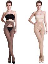 Lang Sha Women's 120 Denier Velvet Opaque Open Crotch Pantyhose Tights For Women