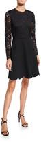 Shoshanna Laurian Galloon Lace Scallop-Hem A-Line Dress