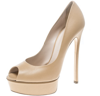 Casadei Beige Leather Peep Toe Platform Pumps Size 39