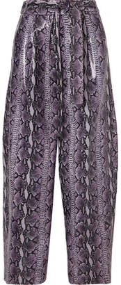 Sally LaPointe Glossed Snake-effect Leather Wide-leg Pants - Purple