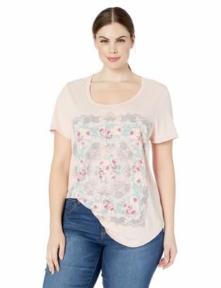 Lucky Brand Women's Plus Sizes Scarf Print TEE