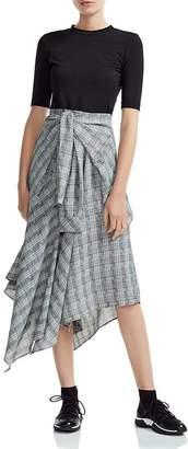 Maje Rapri Color-Blocked Geo-Print Midi Dress