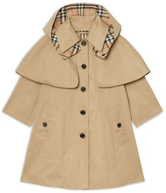 Burberry Kids Detachable Hood Waterproof Cotton Swing Coat (3-12 Years)