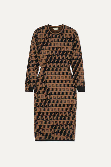 Fendi Jacquard-knit Midi Dress - Brown