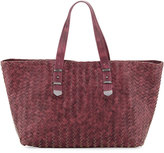 Neiman Marcus Distressed Woven Leather Tote Bag, Burgundy