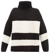 Joseph Side-slit Ribbed Merino-wool Sweater - Womens - Black White