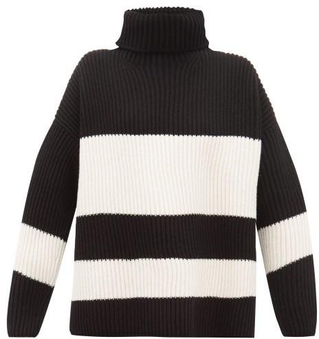 Joseph Side Slit Ribbed Merino Wool Sweater Womens Black White Shopstyle