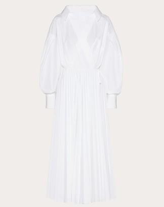 Valentino Technical Poplin Dress Women White Cotton 75%, Polyester 25% 46