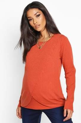 boohoo Maternity Nursing Long Sleeve Rib T-Shirt