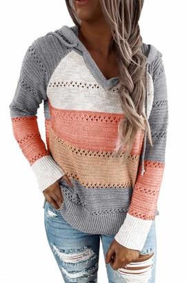 Byoauo V Neck Knitted Jumper Women Stripe Sweater Stretch Knitwear Grey
