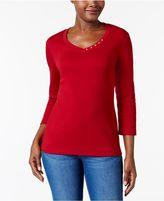 Karen Scott Three-Quarter-Sleeve V-Neck Top, Created for Macy's
