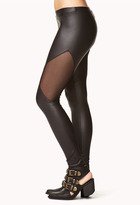 Forever 21 Faux Leather Mesh-Trimmed Leggings