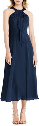 Jenny Packham Halter Neck Chiffon Midi Dress