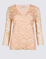 Per Una Lace V-Neck 3/4 Sleeve T-Shirt