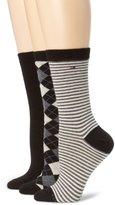 Tommy Hilfiger Women's Three-Pack Argyle-Stripe Crew Socks