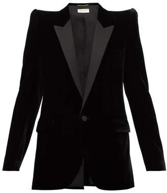 Saint Laurent Pagoda Shoulder Satin Lapel Velvet Blazer - Womens - Black