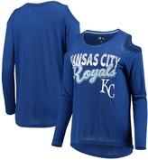 Women's G-III 4Her by Carl Banks Royal Kansas City Royals Crackerjack Cold Shoulder Long Sleeve T-Shirt