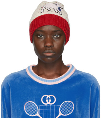 Gucci Off-White Lamb Patch Beanie