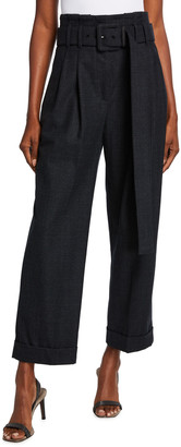 Brunello Cucinelli Pleated Melange Wool Cuffed Pants with Wide Belt