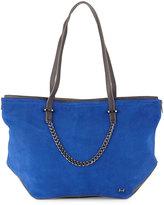 Halston Leather & Suede Tote Bag, Cobalt Multi