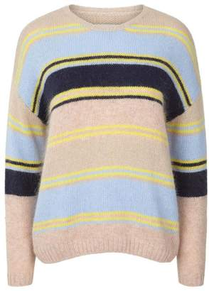 BEIGE Lollys Laundry - Striped Mohair Nina Jumper - XS - White/Grey/Yellow