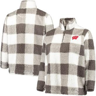 Women's Gray/Cream Wisconsin Badgers Plus Size Plaid Sherpa Quarter-Zip Pullover Jacket