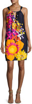 Trina Turk Roe Halter-Neck Floral-Print Shift Dress