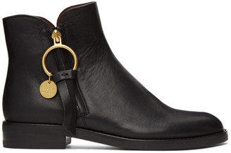 See by Chloe Black Zip Ankle Boots