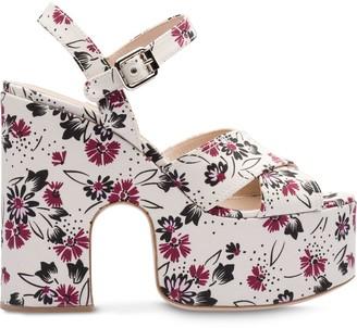 Miu Miu 125mm Floral-Print Platform Sandals