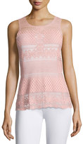 Laundry by Shelli Segal Floral/Diamond Lace Tank, Rose Tan
