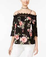 BCX Juniors' Cold-Shoulder Floral-Print Top
