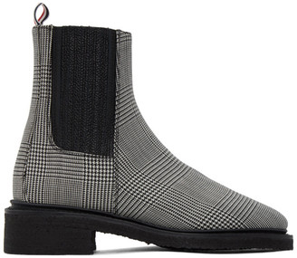 Thom Browne Black and White Houndstooth Chelsea Boots