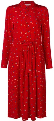 Chinti and Parker Floral Long-Sleeve Midi Dress