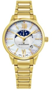 Stuhrling Original Alexander Watch A204B-05, Ladies Quartz Moonphase Date Watch with Yellow Gold Tone Stainless Steel Case on Yellow Gold Tone Stainless Steel Bracelet