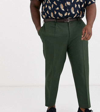 ASOS DESIGN Plus tapered crop smart pants with pleats in ivy green