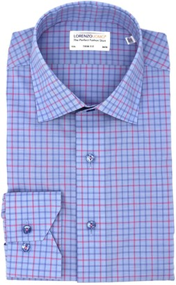 Lorenzo Uomo Textured Box Grid Easy Iron Trim Fit Dress Shirt