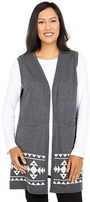 Scully Evelyn Indian Headress Long Sweater Vest (Charcoal) Women's Clothing