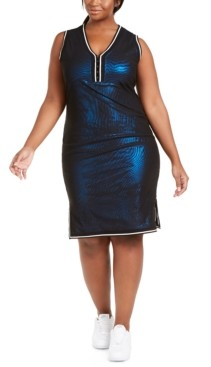 Lala Anthony Trendy Plus Size Shimmer Mesh Dress