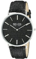 SO&CO New York Unisex 5103.1 SoHo Quartz Ivory Denim Covered Genuine Leather Strap Watch