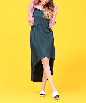 Z Avenue Women's Casual Dresses Teal - Teal & Mauve Hooded Hi-Low Dress - Women & Plus