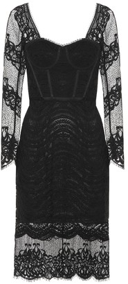 Jonathan Simkhai Mixed lace bustier midi dress